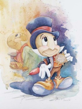 """Michelle St. Laurent Hand Signed and Numbered Limited Edition Giclee on Canvas:""""Jiminy Cricket"""""""