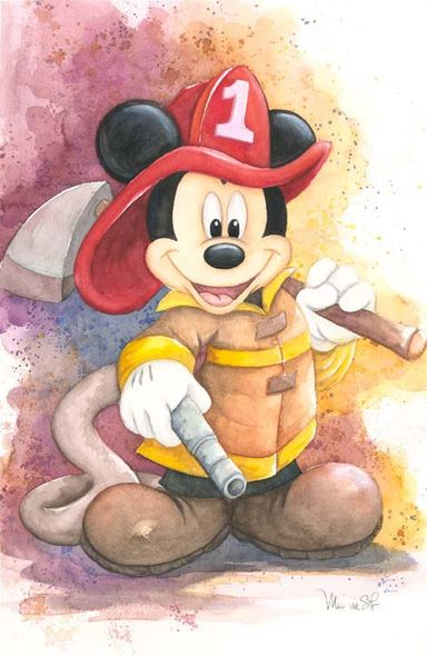 "Michelle St. Laurent Signed and Numbered Hand-Textured Giclée on Canvas: ""Fireman Mickey"""