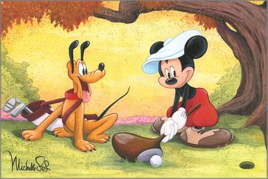 """Michelle St. Laurent Signed and Numbered Hand-Textured Giclée on Canvas:""""Mickey on the Tee"""""""