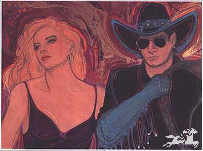 "Mick Reber Hand Signed and Numbered Limited Edition Lithograph On Paper ""Hot Across Texas in a Rentde Cadillac"""
