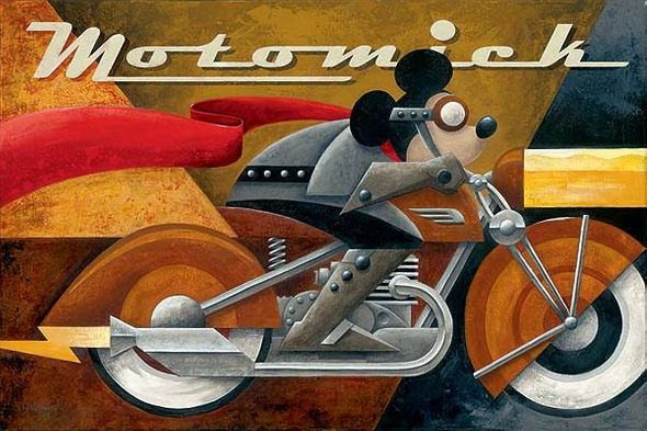 """Mike Kungl Handsigned and Numbered Limited Edition Embellished Giclee on Canvas:""""Moto Mick"""""""