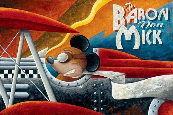 """Mike Kungl Handsigned and Numbered Limited Edition Giclee on Canvas:""""The Baron Von Mick"""""""