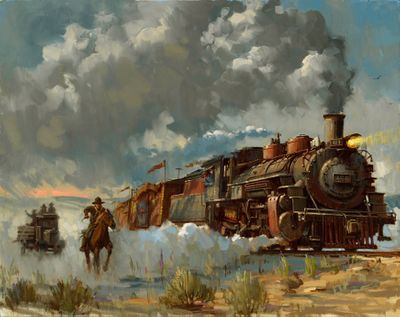 "David Tutwiler Indiana Jones Limited Edition Canvas Giclee:""Chasing the Iron Horse"""