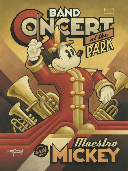 """Mike Kungl Signed and Numbered Limited Edition Hand-Textured Giclée on Canvas:""""Maestro Mickey's Band Concert"""""""