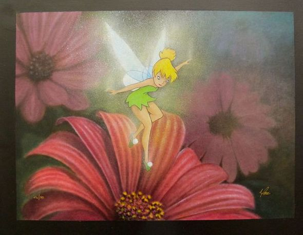 """Mike Kupka Hand Signed Giclee on Canvas:""""Morning Blossoms Tinkerbell"""""""