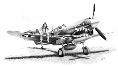 "Mike Lynch Limited Edition Museum Quality Giclée: ""Curtis P-40 Warhawk"""