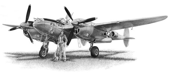 """Mike Lynch Limited Edition Museum Quality Giclée: """"Lockheed P-38 Lightning"""""""
