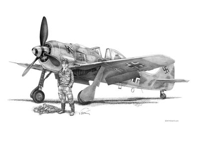"Mike Lynch Limited Edition Museum Quality Giclée: ""Walter Nownoty Focke-Wulf 190"""