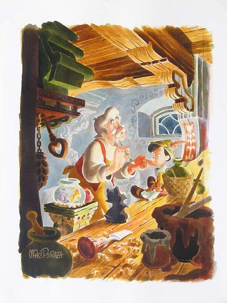 "Mike Perazza Hand Signed and Numbered Giclee on Paper:""Finishing Touches - Pinocchio"""