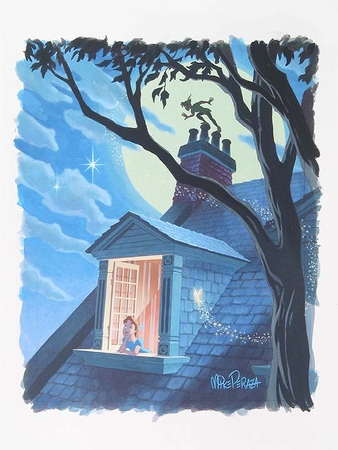 """Mike Perazza Hand Signed and Numbered Giclee on Paper:""""Second Star to the Right - Peter Pan """""""