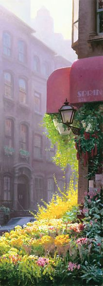 "Mo DaFeng Hand Signed and Numbered Limited Edition Canvas Giclee:""Corner Flower Market"""