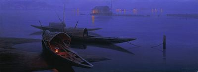 """Mo DaFeng Hand Signed and Numbered Limited Edition Canvas Giclee:""""Night Fishing"""""""