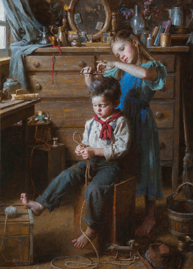 """Morgan Weistling Artist Signed and Numbered Limited Edition Canvas Giclee:""""Barbershop, The"""""""