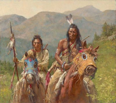"Howard Terpning Artist Signed Limited Edition Canvas Giclee:""Mystery of the Crow Medicine Horse Masks"""