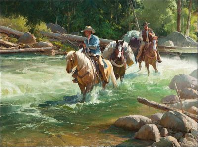 """Bill Anton Hand Signed and Numbered Limited Edition Canvas Giclee:""""River Runners"""""""