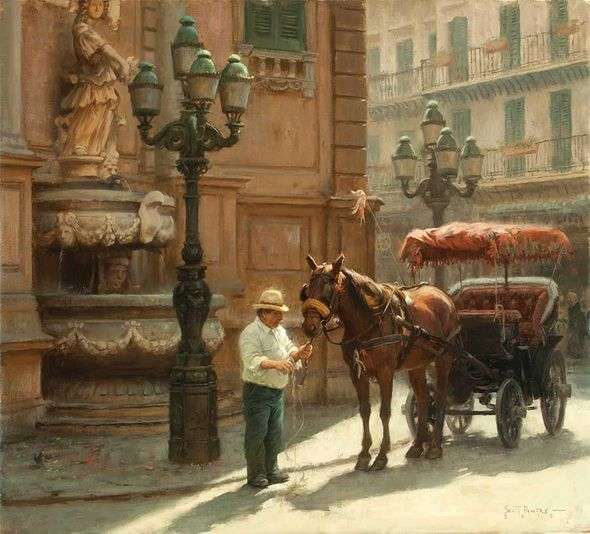 "Scott Tallman Powers Artist Signed Limted Edition Canvas Giclee:""The Watering Hole at Piazza Villena, Palermo"""