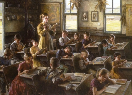 """Morgan Weistling Handsigned and Numbered Limited Edition Giclee: """"Country Schoolhouse, 1879"""""""