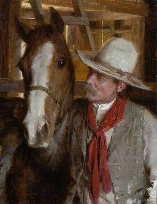 """Morgan Weistling Artist Hand-signed Limited Edition Canvas Giclee:""""His Easy Keeper"""""""