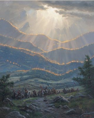 "Mark Keathley Artist Hand Signed Limited Edition Embellished Canvas Giclee:""More Are With Us"""
