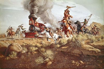 "Frank McCarthy Limited Edition Canvas Giclee: ""Raiding the Iron Horse"""