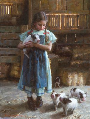 """Morgan Weistling Signed and Numbered Limited Edition Giclee on Canvas:""""Pig Tales"""""""
