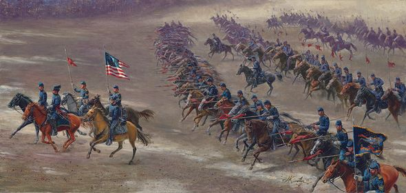 "Mort Künstler Hand Signed and Numbered Limited Edition Canvas Giclee:""Rush's Lancers"""