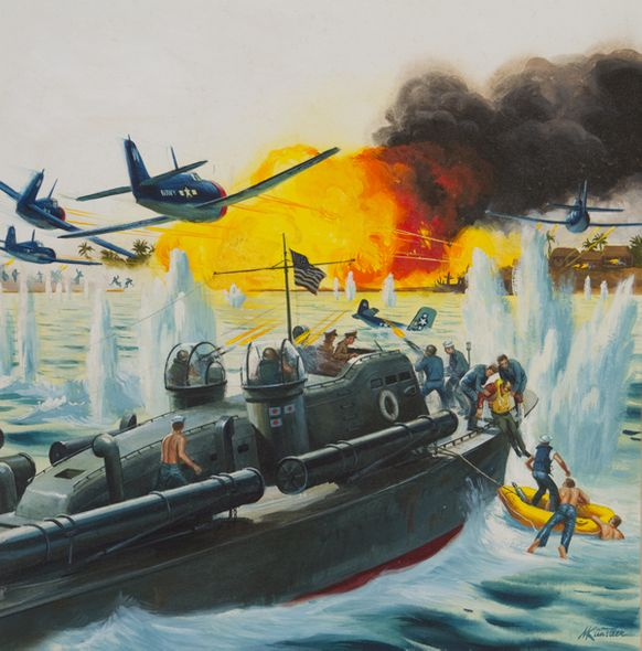 """Mort Künstler Hand Signed and Numbered Limited Edition Canvas Giclee:""""Use the Whole Damn Fleet, But Save Ensign Thompson…"""""""