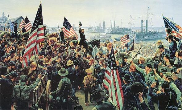 """Mort Künstler Hand Signed and Numbered Limited Edition Canvas: """"The Glorious Fourth"""" Vicksburg, Miss., July 4, 1863 Masterpiece Collection)"""""""
