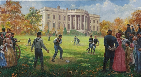 """Mort Künstler Hand Signed and Numbered Limited Edition Giclee:""""The National Game (White House 1862)"""""""
