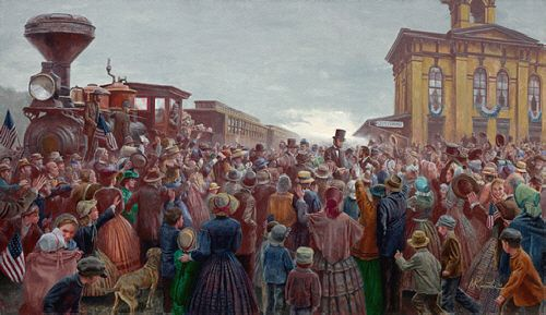 """Mort Künstler Hand Signed and Numbered Limited Edition Print and Canvas:""""Mr. Lincoln Comes to Gettysburg"""""""