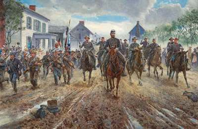 "Mort Künstler Hand Signed and Numbered Limited Edition Print:""Race Down Chester Street"""