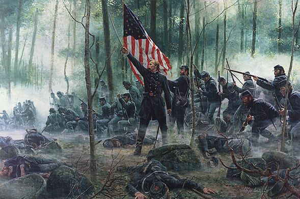 """Mort Künstler Hand Signed and Numbered Masterpiece Collection Canvas Giclee:""""Hero of Little Round Top"""""""