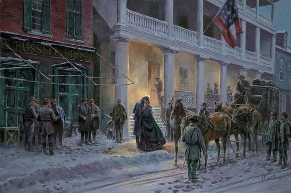 "Mort Künstler Handsigned and Numbered Limited Edition 2010 Snow Print:""Mrs. Jackson Comes to Winchester"""