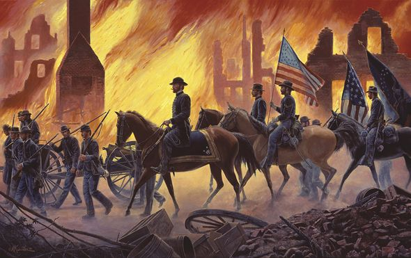 "Mort Kunstler Hand Signed and Numbered Limited Edition Canvas Giclee:""War is Hell!"""