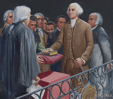 """Mort Kunstler Hand Signed and Numbered Limited Edition Canvas Giclee:""""Washington's Inauguration"""""""