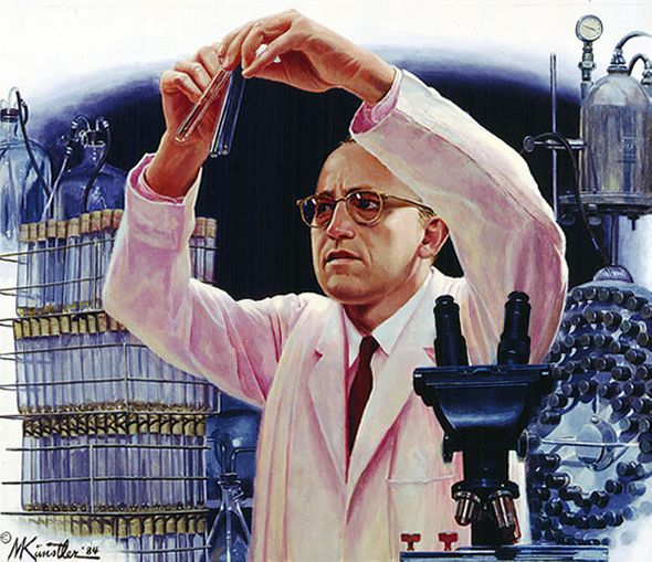 """Mort Kunstler Hand Signed and Numbered Limited Edition Giclee Canvas:""""Jonas Salk's Polio Vaccine"""""""
