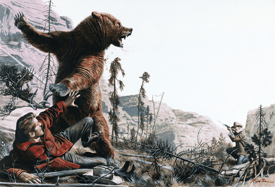 "Mort Kunstler Hand signed and Numbered Limited Edition Giclee Canvas:""Phantom Grizzly"""