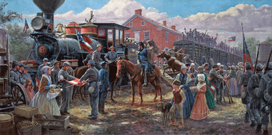 "Mort Kunstler Hand Signed and Numbered Limited Edition Print:""Victory Rode the Rails"""