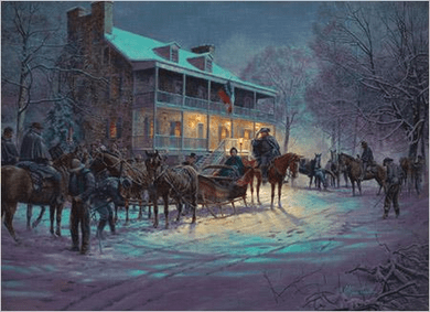 """Mort Kunstler Hand Signed and Numbered Limited Edition Snow Print:""""Brief Encounter"""""""