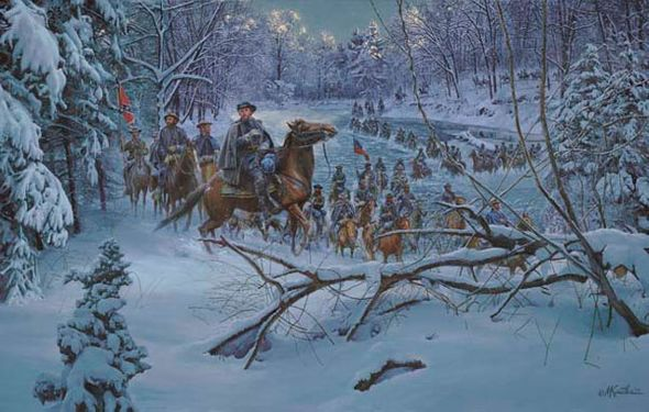 """Mort Kunstler Handsigned and Numbered Limited Edition Artist Proof Print:""""Confederate Crossing"""""""