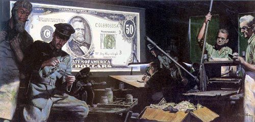 "Mort Kunstler Handsigned and Numbered Limited Edition Canvas Giclee :""Money Game, The"""