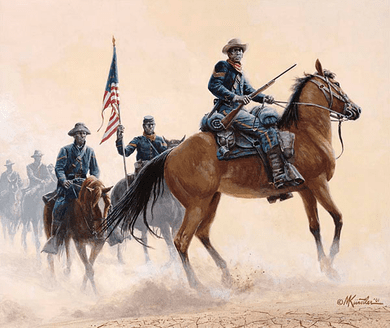 """Mort Kunstler Handsigned and Numbered Limited Edition Giclee on Canvas:""""Buffalo Soldiers of the West"""""""