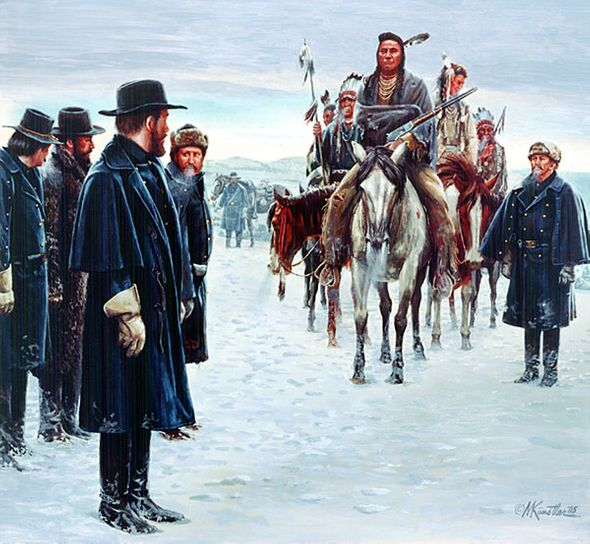 """Mort Kunstler Handsigned and Numbered Limited Edition Giclee on Canvas:""""Chief Joseph Surrenders"""""""