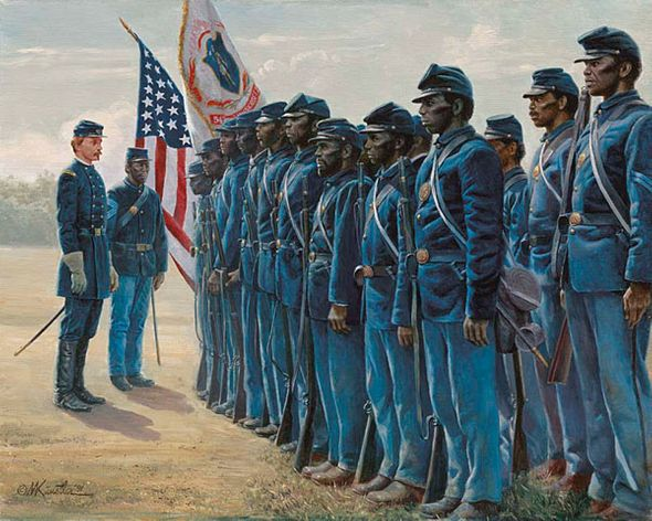 "Mort Kunstler Handsigned and Numbered Limited Edition Giclee on Canvas:""Col. Robert Shaw and the 54th Massachusetts"""