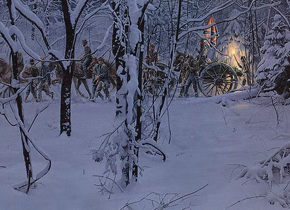 "Mort Kunstler Handsigned and Numbered Limited Edition Giclee on Canvas:""Confederate Christmas, The Masterpiece Collection """