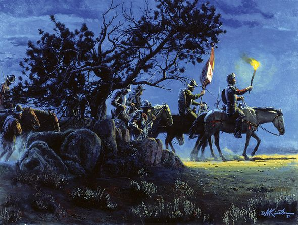 "Mort Kunstler Handsigned and Numbered Limited Edition Giclee on Canvas:""Conquistadores, Los"""