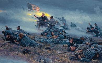 "Mort Kunstler Handsigned and Numbered Limited Edition Giclee on Canvas:""Courage in Blue"""
