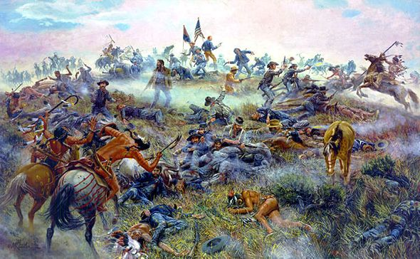 """Mort Kunstler Handsigned and Numbered Limited Edition Giclee on Canvas:""""Custer's Last Stand"""""""