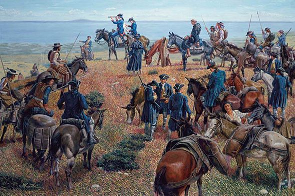 """Mort Kunstler Handsigned and Numbered Limited Edition Giclee on Canvas:""""Discovery of San Francisco Bay"""""""