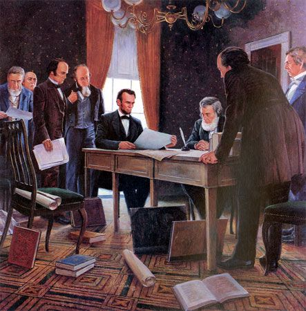 """Mort Kunstler Handsigned and Numbered Limited Edition Giclee on Canvas:""""Emancipation Proclamation"""""""